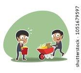 african businessman pushing... | Shutterstock .eps vector #1051679597