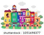 illustration of stickman kids... | Shutterstock .eps vector #1051698377