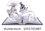 open book about pirates and... | Shutterstock . vector #1051701887