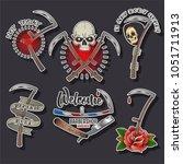 vector scythe  death and rose... | Shutterstock .eps vector #1051711913