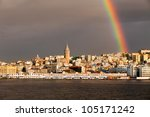 Rainbow over Galata tower in Istanbul, Turkey - stock photo