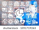 Small photo of Doctor presses gear arrow button on a virtual windows interface. Integrated Information Technology Modern Medicine concept. Integrate Smart Digital AI IOT Microchips API Mobile Big Data Healthcare.