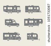auto rvs  camper cars   vans ... | Shutterstock .eps vector #1051733087