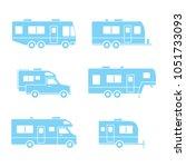blue auto rvs  camper cars  ... | Shutterstock .eps vector #1051733093
