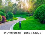 pathways with green lawns ...   Shutterstock . vector #1051753073
