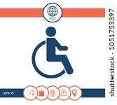wheelchair handicap icon | Shutterstock .eps vector #1051753397
