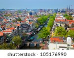 Amsterdam panorama, Holland, Netherlands. City view from Westerkerk - stock photo