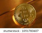 bitcoin token with brilliant... | Shutterstock . vector #1051783607