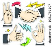 set colorful icons hand ... | Shutterstock .eps vector #1051791107