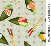 vector seamless temaki with... | Shutterstock .eps vector #1051805093