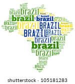 Brazil map and words cloud - stock photo