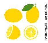 lemon. yellow juicy lemon with... | Shutterstock .eps vector #1051814087