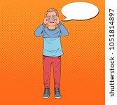 pop art upset little boy crying.... | Shutterstock .eps vector #1051814897