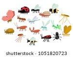 cartoon set of various funny... | Shutterstock .eps vector #1051820723
