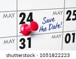 wall calendar with a red pin  ... | Shutterstock . vector #1051822223