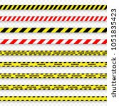caution and danger stripe on... | Shutterstock .eps vector #1051835423