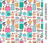 cute hipster stickers scrapbook ... | Shutterstock .eps vector #1051868093