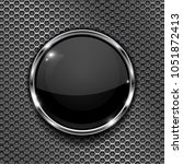 black button on perforated... | Shutterstock .eps vector #1051872413