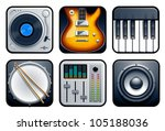 Musical icons vector set. - stock vector