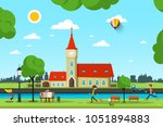 vector city with church  river... | Shutterstock .eps vector #1051894883