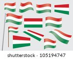 set of flags of hungary vector...   Shutterstock .eps vector #105194747