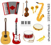 musical instruments  a set of... | Shutterstock .eps vector #1051947683