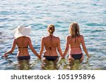 Beach girls. Travel concept. - stock photo
