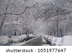 snow ladened branches create a... | Shutterstock . vector #1051977647