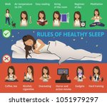 rules of healthy sleep.... | Shutterstock . vector #1051979297