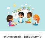 cute little girl holding book... | Shutterstock . vector #1051993943