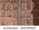 Old Wooden Door And Metal Lock...