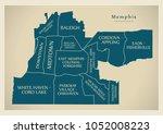 modern city map   memphis... | Shutterstock .eps vector #1052008223