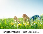 bare feet on spring grass and...   Shutterstock . vector #1052011313