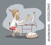 men freelancer   young man... | Shutterstock .eps vector #1052012963