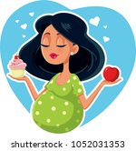 pregnant woman choosing between ...   Shutterstock .eps vector #1052031353