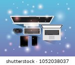 tecnology gadgets set icons | Shutterstock .eps vector #1052038037