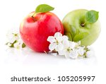 Two Red And Green Apples With...