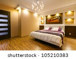 modern master bedroom interior... | Shutterstock . vector #105210383