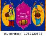 happy vaisakhi punjabi... | Shutterstock .eps vector #1052120573