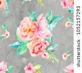 jewel toned watercolor floral... | Shutterstock . vector #1052157293
