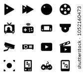 solid vector icon set   play... | Shutterstock .eps vector #1052160473