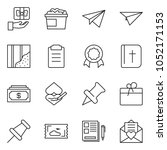 thin line icon set   notes... | Shutterstock .eps vector #1052171153