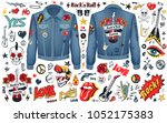 rock n roll theme set of... | Shutterstock .eps vector #1052175383