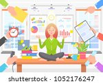 business poster with woman in... | Shutterstock .eps vector #1052176247
