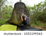 female climber with boulder... | Shutterstock . vector #1052199563