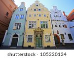 Oldest buildings in Riga Latvia - the Three Brothers - stock photo