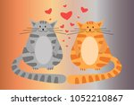 red cat and gray cat  cat love  ... | Shutterstock .eps vector #1052210867