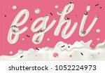 cream candy font on pink... | Shutterstock .eps vector #1052224973