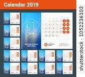 esk calendar for 2019 year. set ... | Shutterstock .eps vector #1052236103