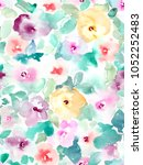 abstract watercolor floral... | Shutterstock . vector #1052252483